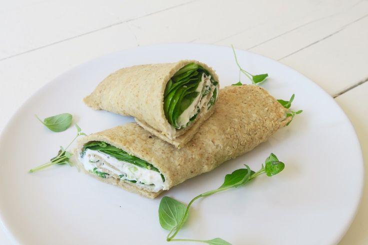 Wraps uit de oven met geitenkaas, honing en spinazie