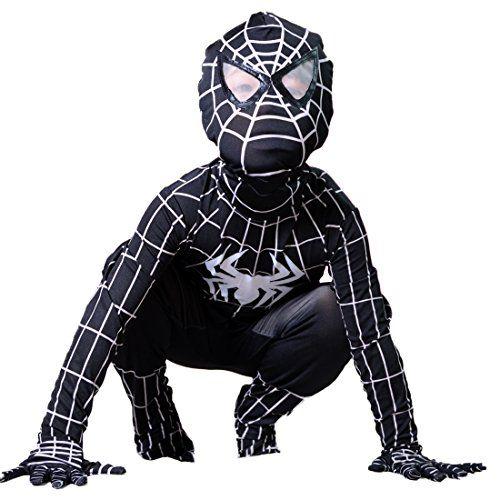 Boys Venom Black Spiderman Costume Kids Superhero Cosplay Spandex Bodysuit (Small) ** Check out this great image @…