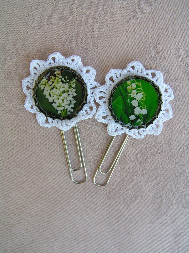 Lily of the valley bookmarks with white, hand crocheted lace