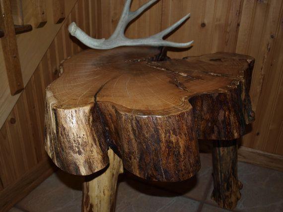 Red oak log slice table handmade rustic hardwood
