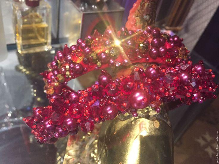 Купить Ободок КРАСНЫЙ на бархате - ярко-красный, ободок для волос, Ободок с камнями, Новый Год