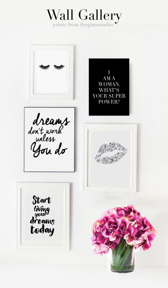 Wall gallery idea with pretty prints for girls