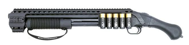 Black Aces Tactical Quad Rail and Side Shell Holder for Mossberg Shockwave - The Firearm BlogThe Firearm Blog