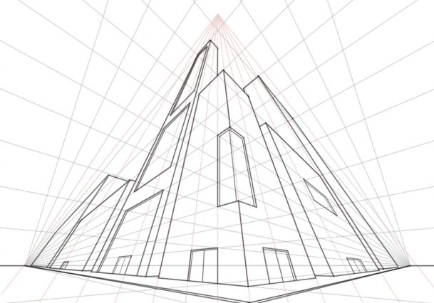 Drawing View Worms Eye Building
