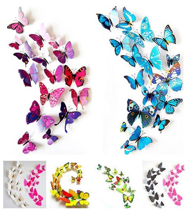 2015 New Gossip Girl Same Style 12pcs 3D Butterfly Wall Stickers Butterflies Decors For Home Fridage Decoration-in Wall Stickers from Home & Garden on Aliexpress.com | Alibaba Group