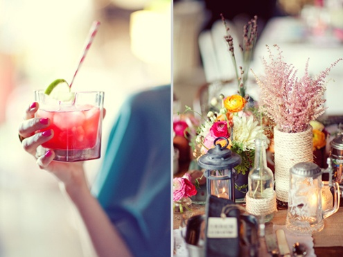 like the striped straws for signature drinks-- maybe we could have a premade sig drinks table either on friday or saturday night. Like these centerpieces with the lights, lanterns and various flowers--would have to get more bright pink and need table runner maybe navy stripes or chevron. and the thank you card on the plate but love the eclectic details...Maybe add in your idea of mexican style pottery/vases?