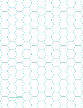 This letter-sized hexagon graph paper is spaced with hexagons half an inch apart. Free to download and print
