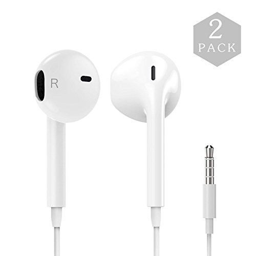 Auideas Earphones with Microphone [2 Pack] Premium Earbuds Stereo Headphones and Noise Isolating headset Made for Apple iPhone iPod iPad - White (white).