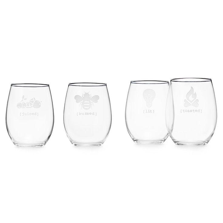 """UNDER THE INFLUENCE"" STEMLESS WINE GLASS SET | novelty wine glasses, handmade, sandblasted | UncommonGoods"