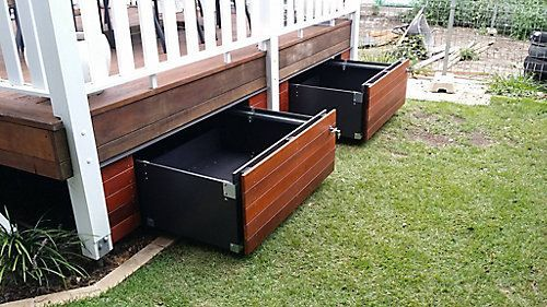 An economical and clever storage solution which transforms the unused space under your patio into a sturdy and functional drawer. Easily harmonized: cover its exterior with the same covering as your deck and it blends into your decor. Supports a spread out load up to 250 pounds, it can store numerous articles: umbrellas, tires, toys, pool chemicals accessories... Easy to open and close (even for a child) due to the ball-bearing slides and a metal handle (lockable)