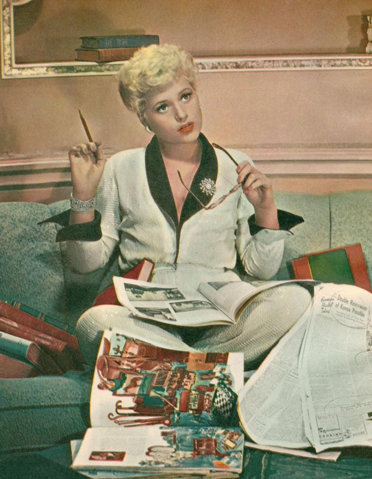 Judy Holliday, in Born Yesterday. You can't tell by that pajama outfit is all sequins- Just Fabulous!