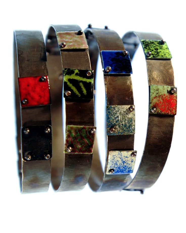 PIGMENTI bangles Silver, Steel and enamel #zero43 info@zero43.com