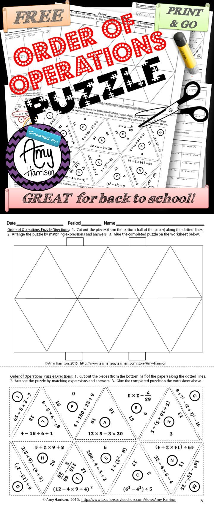 worksheet Free Math Worksheets Order Of Operations 30 best teaching math order of operations images on pinterest try this free puzzle that is great for back to school in grades
