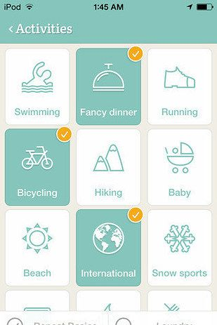 Pack Point | Pack Point helps you decide what to pack depending on where you're going, what the weather will be like, and what sort of activities you'll be participating in. Download here. Another similar option - Travel List.