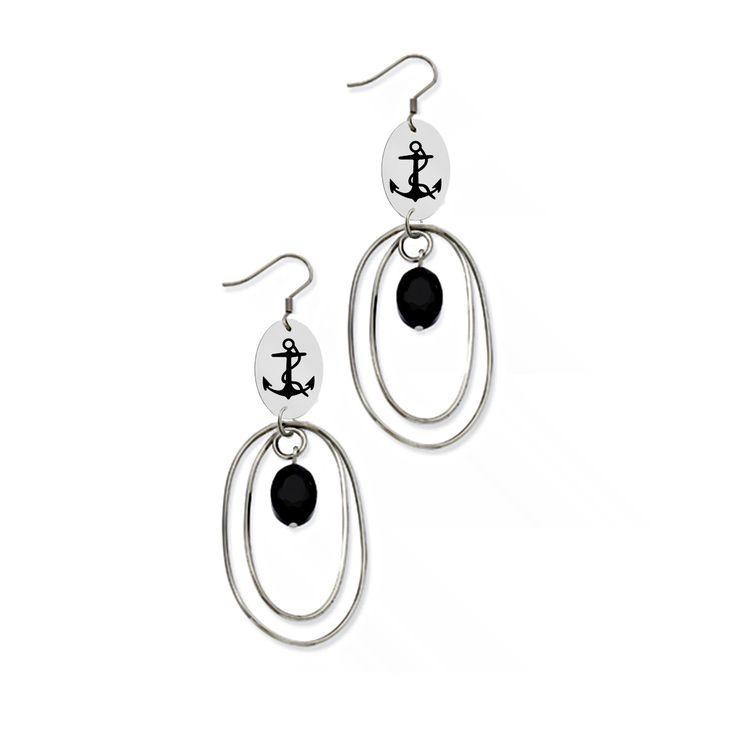 Delta Gamma Symbol Stainless Steel Loop Earrings