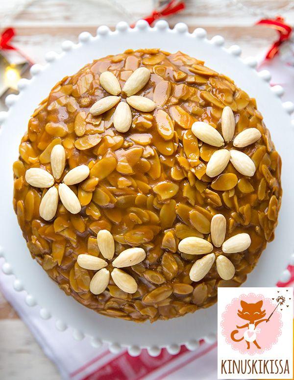 Taikina: 1 ison appelsiinin kuoriraaste 1 dl appelsiinimehua 100 g voita tai margariinia 2 dl fariinisokeria 3 munaa 3 dl vehnäjauhoja 1 dl Meira mantelijauhetta 2 tl...