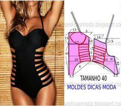 Hoje proponho este molde triquini femininode design arrojado e descontraído para as mulheres mais exigentes. As medidas do molde correspondem ao tamanho 4