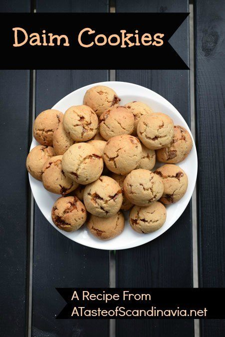 These cookies are loaded with pieces of Daim bars . Recipe at ATasteofScandinavia.net