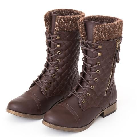 """Style : Combat Boots Heel Height : 1"""" Color : Brown Condition : New in Box Main Material : Man-made Material (Faux leather) Fit : True to size Shaft Height : About 9 1/4"""""""