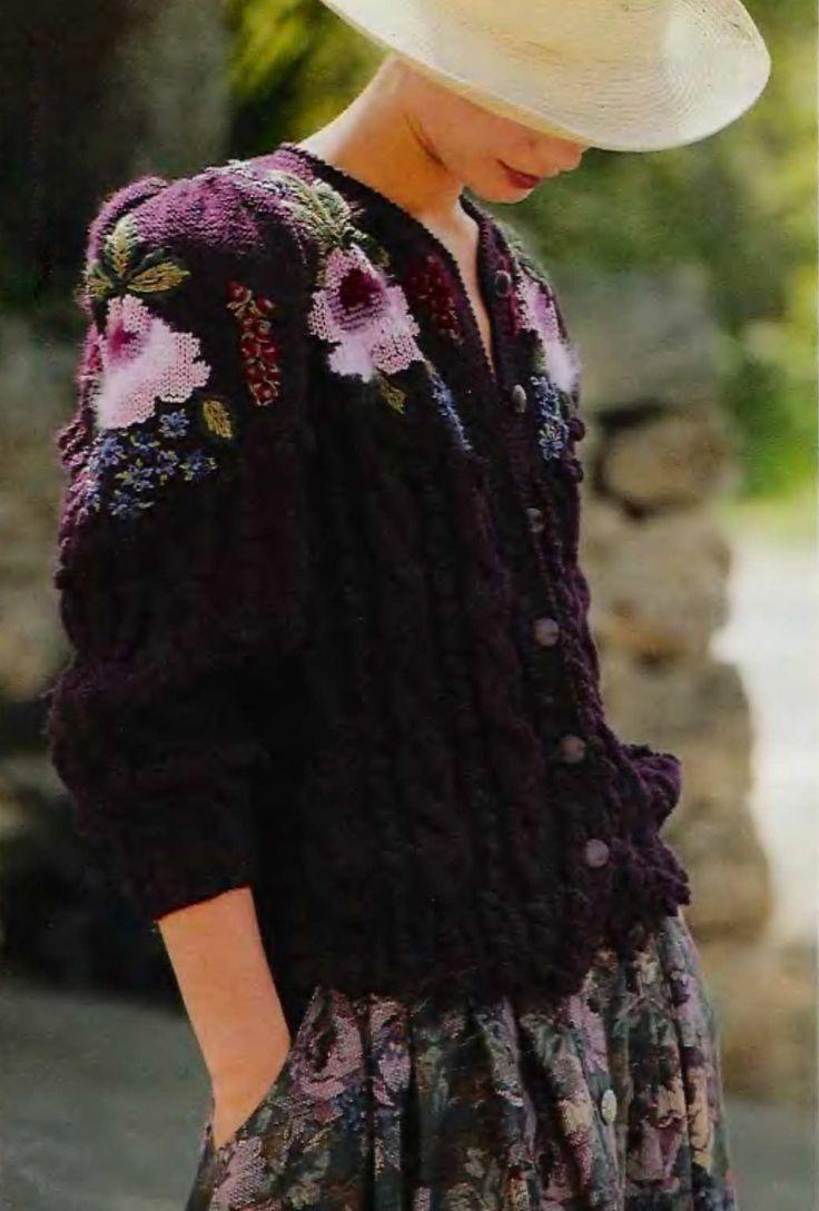 Жакет цвета «баклажан» с аранами и жаккардом
