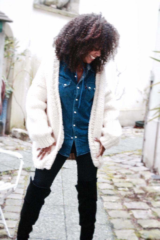 Gilet Grosse maille, cardigan grosse laine, chemise levis, cuissardes ASOS,  Waistcoat