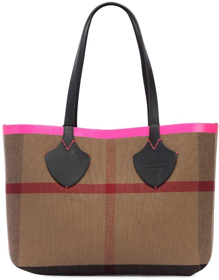 ccc99b1f41 Medium Reversible Check Canvas Tote Bag