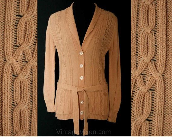 Storyteller Camel Tan Casual Cardigan & Tie Belt Size 8 9