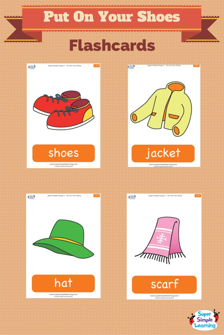 """Talk about cold weather clothes with flashcards for the Super Simple Learning song """"Put On Your Shoes."""""""