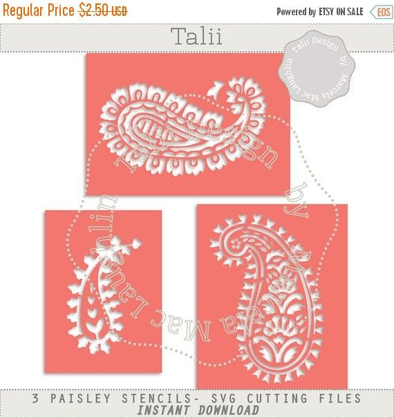 30 OFF XMAS SALE Paisley Stencil Svg Cutting Files- 3 Indian Stencils Arabesques Die Cut Files Silhouette Studio Dxf Clipart Templates Easy