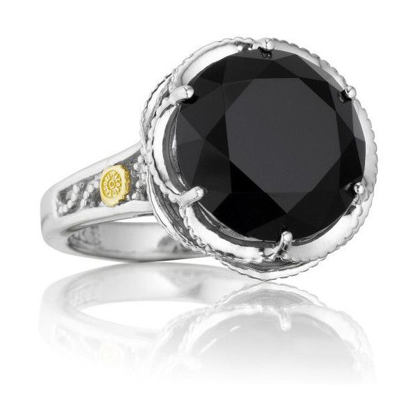 Tacori Black Lightning Sterling Silver Black Onyx Cocktail Ring ($350) ❤ liked on Polyvore featuring jewelry, rings, tacori jewelry, black silver jewelry, tacori rings, round ring and black silver rings