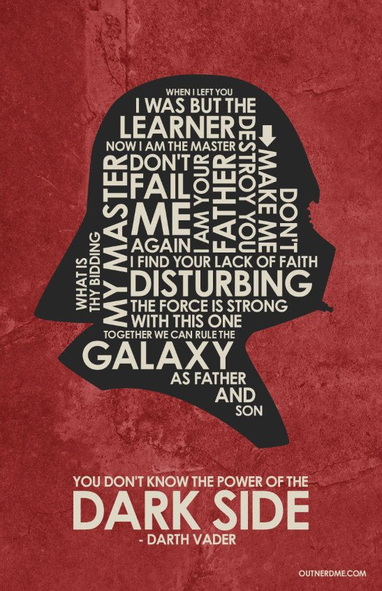 Star Wars Darth Vader Quote Poster by OutNerdMe on Etsy