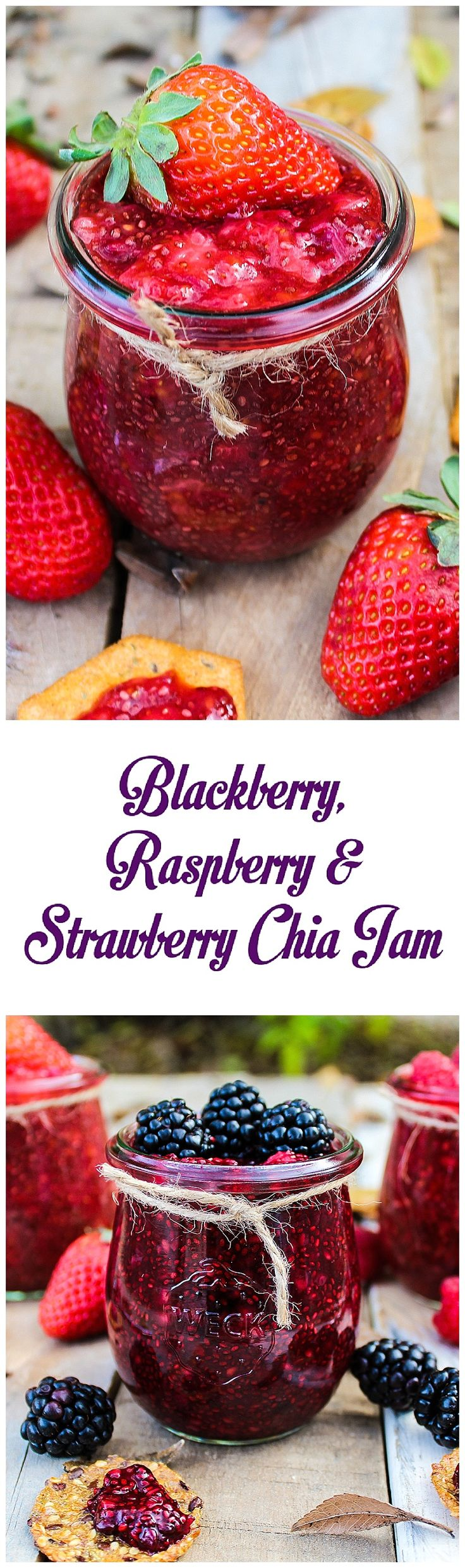 Blackberry, Raspberry & Strawberry Chia Jam - http://veganhuggs.com/bat/