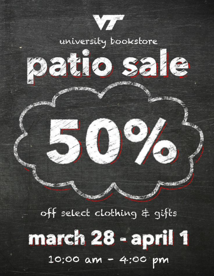 Virginia Tech Bookstore Email Ad - nice chalkboard texture