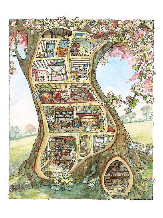 "Poster – ""Treehouse – Brambly Hedge"" of Jill Barklem – fine art gallery"