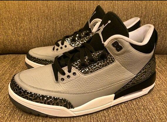 Authentic Jordan Wolf Grey retro 3s on Feet Full Size