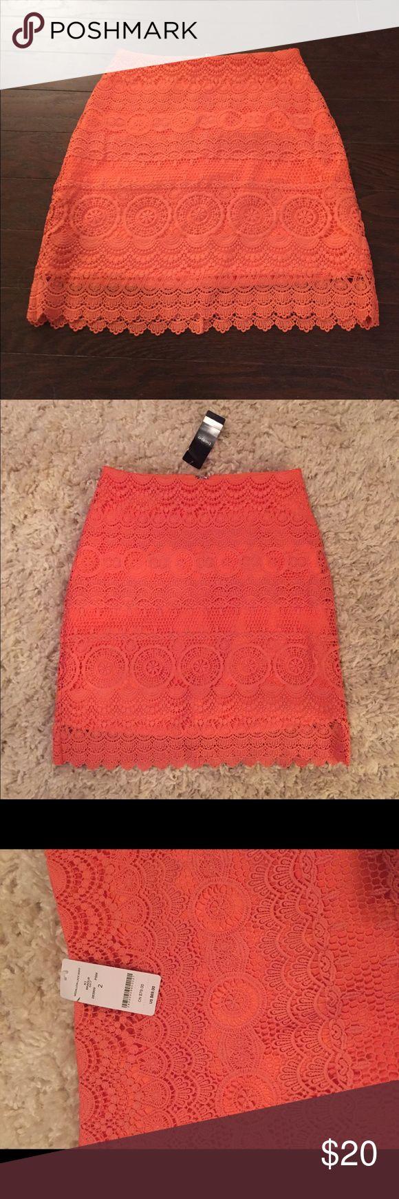 Bebe Mini Skirt Orange Size 2 Bebe miniskirt Size 2 Orange with zipper up the back  'Medallion Lace Skirt' Lace overlay bebe Skirts Mini
