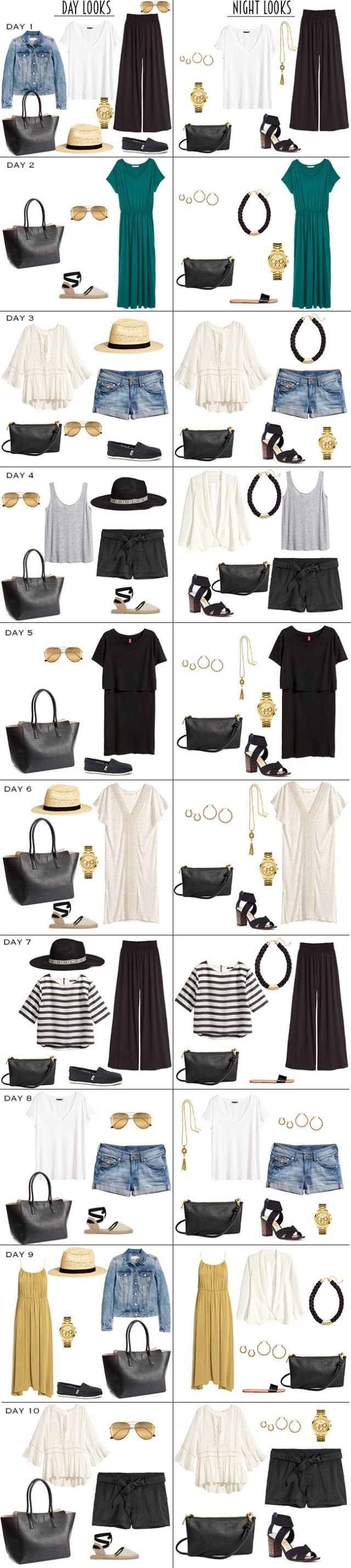 10 Day To Night Looks for 14 days in the Caribbean. The whole Packing List is on the Blog. #packinglist #packinglight #travellight