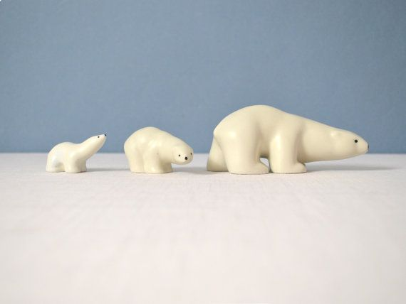 Arabia Finland Porcelain Polar Bear Trio by by MidModMomStore