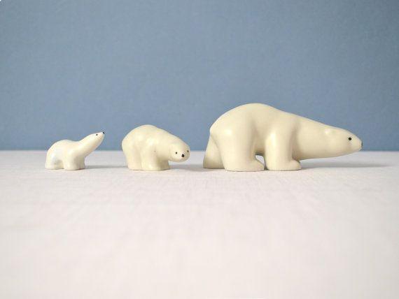Arabia Finland Porcelain Polar Bear Trio by by MidModMomStore