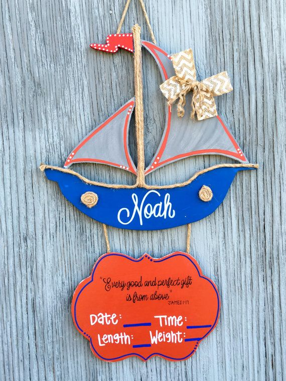 Baby Door Hanger  Sail Boat Door Hanger  Wooden by LBWoodenSigns