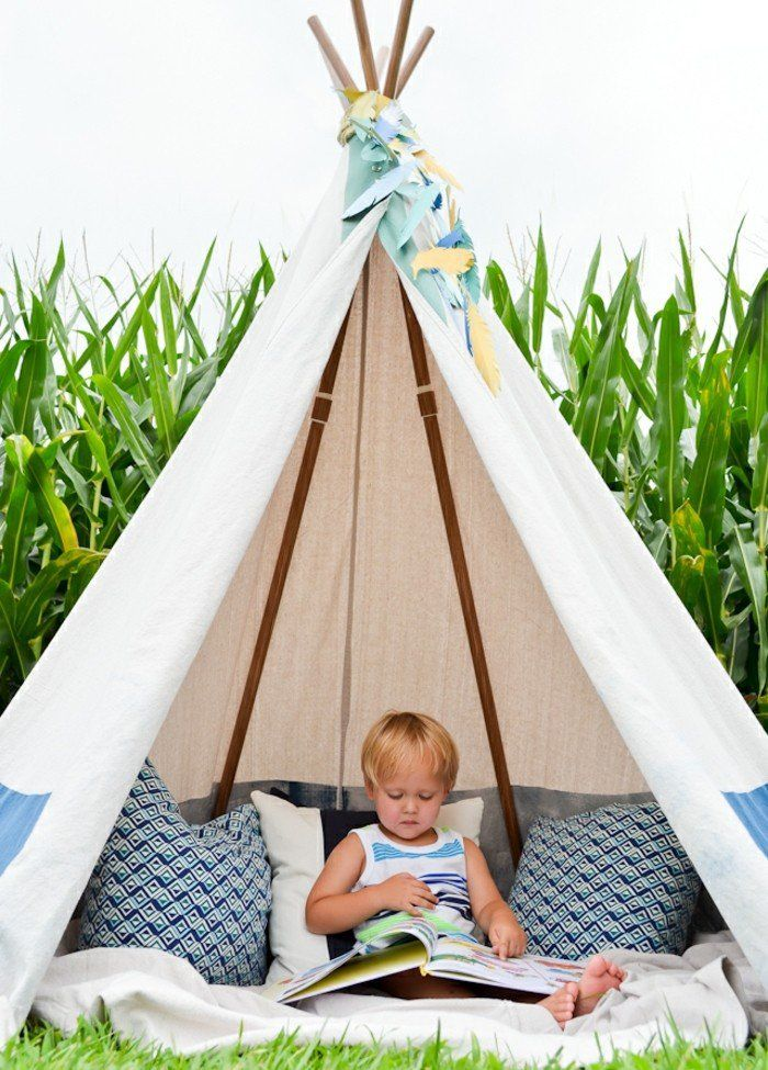 tuto tipi enfant en plein air trois coussins couverture. Black Bedroom Furniture Sets. Home Design Ideas