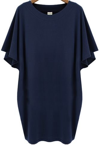 Navy Batwing Short Sleeve Loose Dress 20.00