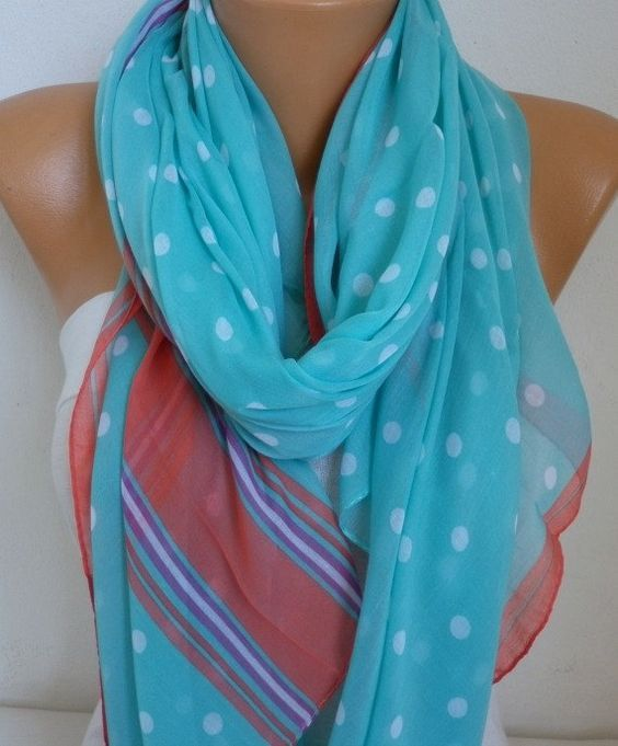 Turquoise Cotton Polka Dot Soft ScarfTeacher GiftFall Summer #turquoise #scarf #polkadots #shawl #fatwomanscarf #easter