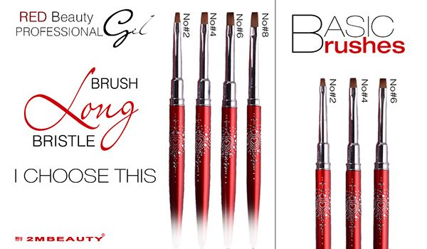 2mbeauty brushes for nails .New,wider brush made with selected bristles. Ideal for thicker gels.
