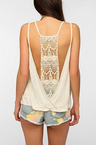 Staring At Stars Low Crochet-Back Cami - Urban Outfitters