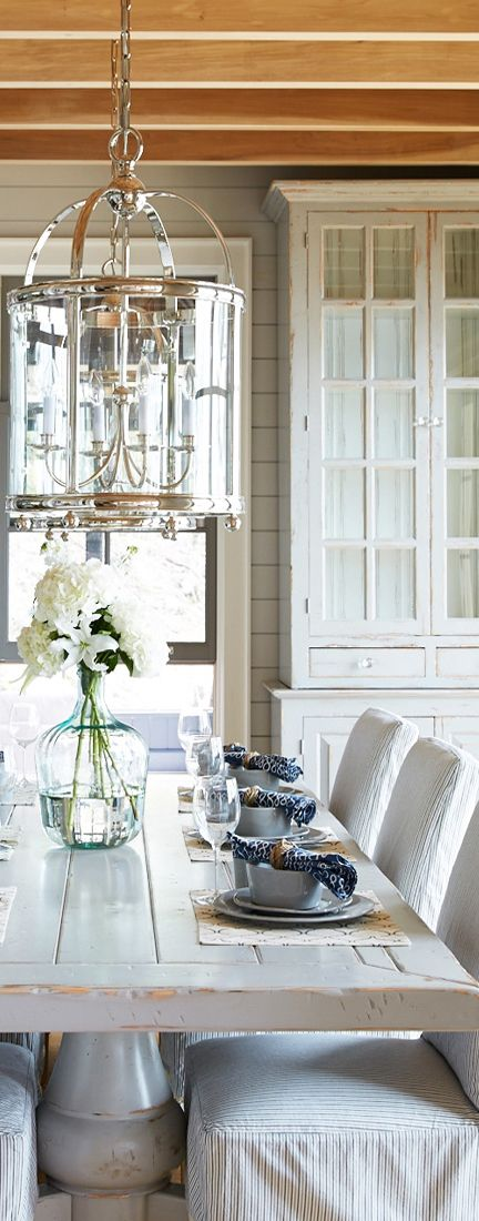 Farmhouse Table Silvery Bright Lantern Slipcovered Chairs Wood Beams And Fabric Insert In Dining Room LampsFormal