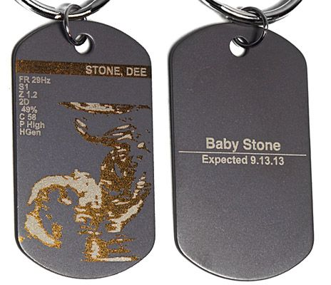 Gift and cherish (6) copies of your favorite baby ultrasound photo as a color laser engraved titanium dog tag keychain or necklace. #pregnancy