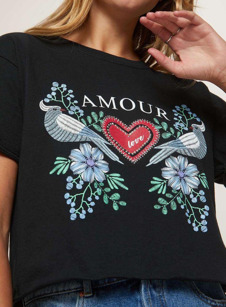 PETITE Amour Slogan T-Shirt - Miss Selfridge