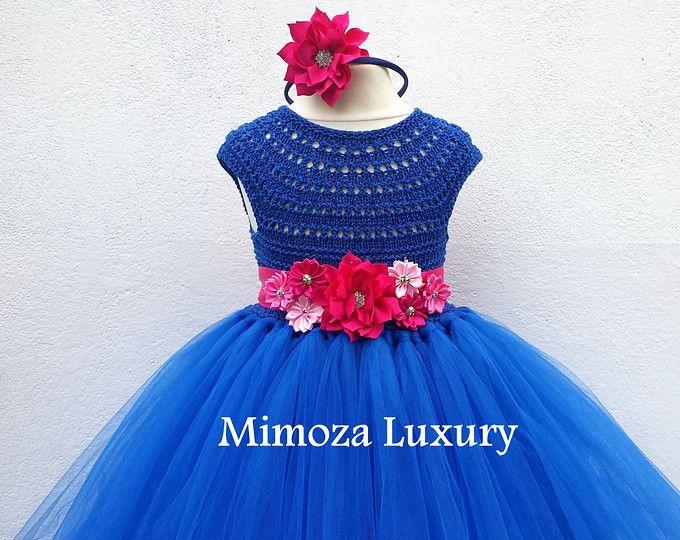 Vestido azul vestido azul zafiro, vestido de Dama de azul real, azul real vestido de la princesa, tul top de ganchillo