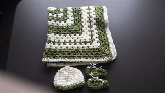 Crochet Gum Nut Baby collection.  Blanket booties and beanie.